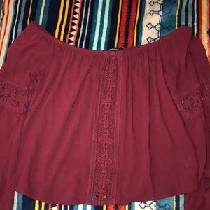 Burgundy Off-The-Shoulder Ambiance Size S Top